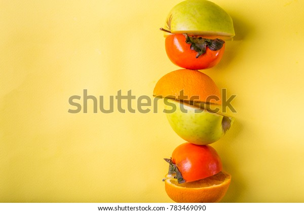 fruit halfs persimon orange apple fruits