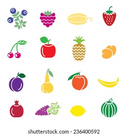 fruit icons painted