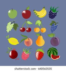 Fruit Icons Set. Apple. Cherry. Watermelon. Banana. Lemon. Strawberry. Grapes. Plum. Pear.