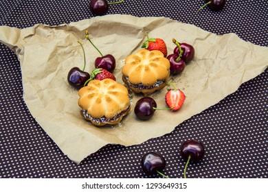 Fruit jam cookies. Sweet cherry, strawberry.