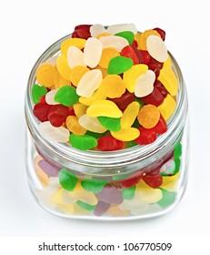 fruit jellies in clear glass jar