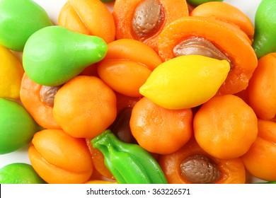 Fruit jelly candies closeup