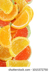 Fruit jelly candy isolated on white