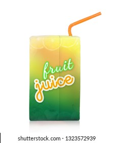 Fruit juice box with drinking straw. Isolated on white background with shadow reflection. Juice packaging with sipper.