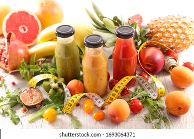 fruit juice with ingredient and meter measure- smoothie in bottle