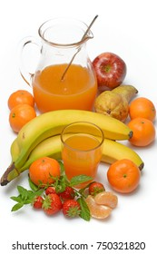 fruit juice with ingredients around on white background - closeup