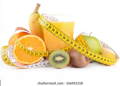 fruit juice and measure tape isolated