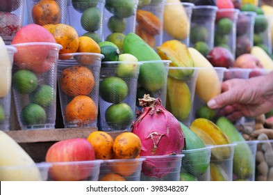 The fruit juice stand at Night Market in Luang Prabang, Laos