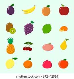 Fruit juicy and ripe collected in a set of icons.