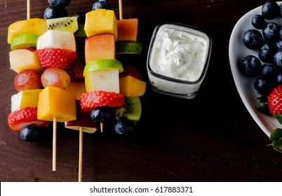 Fruit Kabobs with Poppy Seed Yogurt