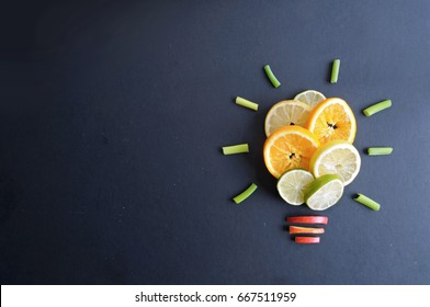 Fruit light bulb background