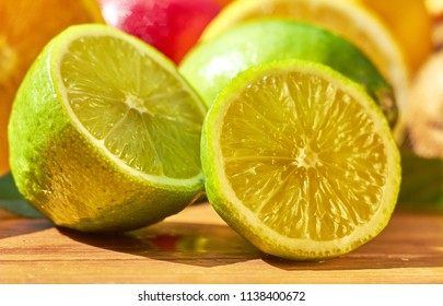 Fruit lime with sliced lime slices. Citrus.