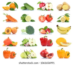 Fruit many fruits and vegetables collection isolated apple oranges pear tomatoes colors on a white background