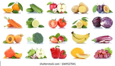Fruit many fruits and vegetables collection isolated apple oranges grapes tomatoes colors on a white background