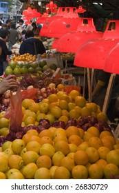 A fruit market in Hong Kong