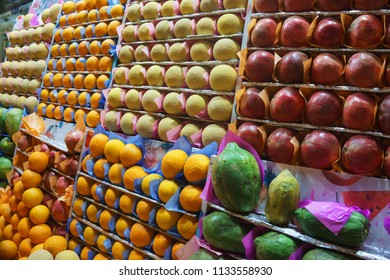 Fruit market with various colorful fresh fruits. Perfectionism concept