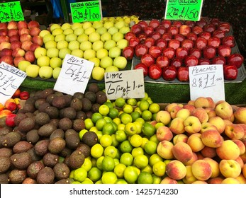 Fruit market with various colorful fresh fruits with price tags in Birmingham, Great Britain
