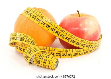 fruit and meter diet concept isolated