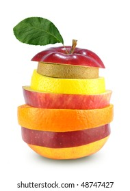Fruit mix isolated on white