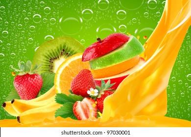 Fruit mix on green background