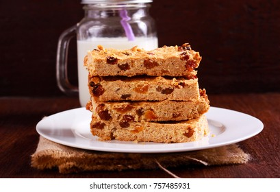 Fruit oat flapjacks biscuits stack on plate