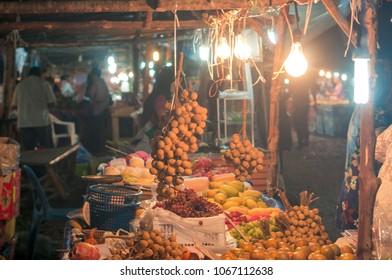 Fruit on night market in Ao-Nang village, Krabi province, Thailand