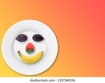 fruit on plate in face shape