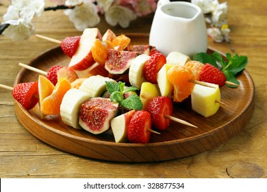 fruit on wooden skewers - dessert skewers