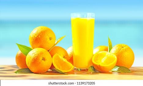 Fruit oranges and orange juice.