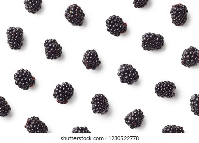 Fruit pattern of blackberries isolated on white background. Top view. Flat lay
