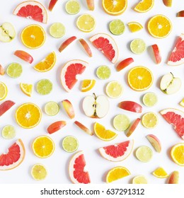Fruit pattern. Food background. Fresh citrus fruits in a cut.