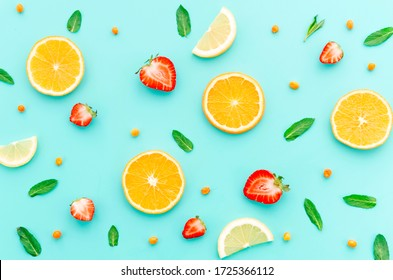 Fruit pattern with mint leaves  also with  beautiful background
