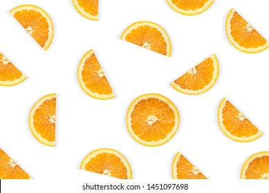 Fruit pattern of orange slices isolated on white background