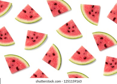 Fruit pattern of watermelon slices isolated on white background. Top view. Flat lay