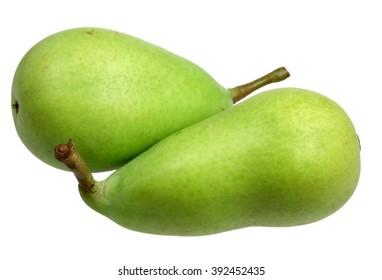 Fruit a pear green ripe it is isolated on a white background