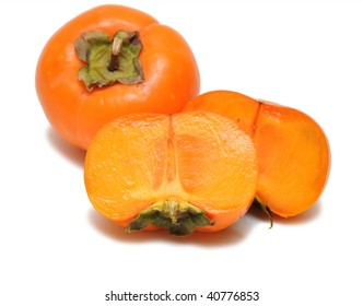 The fruit a persimmon isolated on a white background