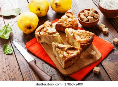 Fruit pie with quince on the table