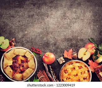 Fruit Pies on rustic background.Autumn collection.