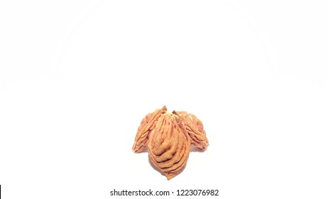 Fruit Pits on White Background.  Nectarine Peach Seeds.  Art and Craft Design.