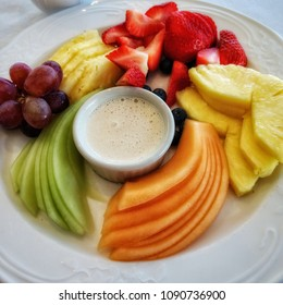 Fruit Plate with Cantaloupe, Pineapple, Strawberries, Blueberries, Grapes, and Honeydew with Dipping Sauce
