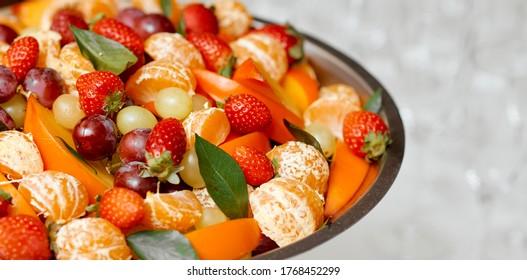 fruit plate in metal utensils not white textured background  - Shutterstock ID 1768452299