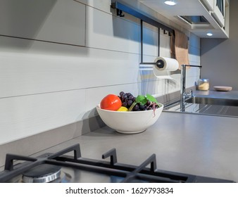 Fruit plate in a modern kitchen