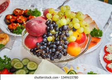 Fruit plate on covered table