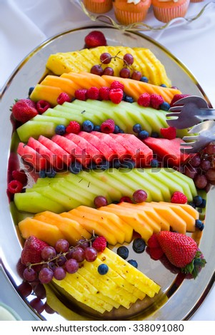 Fruit Plate Platter Wedding Reception Melon Stock Photo (Edit Now ...