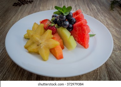 Fruit Platter on Wood Table