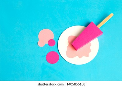 Fruit popsicle made of paper. Volumetric handmade paper objects. Paper art and craft. Trendy hobby. Minimal artistic food concept. Copy space