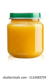 fruit puree for children in a jar on a white background, isolated. clipping path