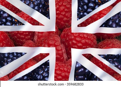 Fruit - Raspberries and blackcurrants - Flag of the United Kingdom of Great Britain and Northern Ireland