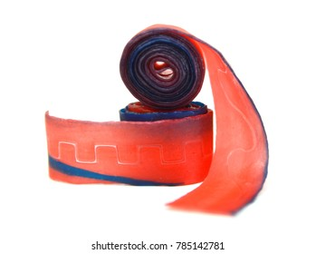 fruit roll up snack on white background