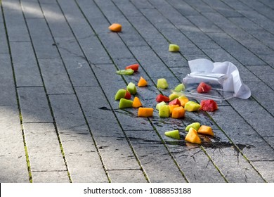 Fruit salad accidentally dropped to ground. Misfortune concept
